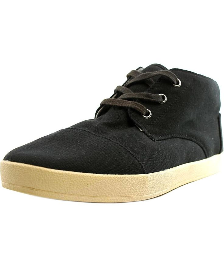 TOMS Toms Paseo Mid Men  Round Toe Canvas Black Chukka Boot. #toms #shoes #