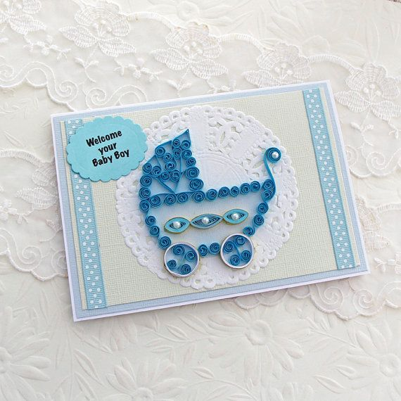 Amazing Card Making Ideas New Baby Boy Part - 10: Paper Quilling Card Paper Quilled Baby Boy Pram Carriage Congratulations New  Born Boy Welcome Handmade By Enchanted Quilling