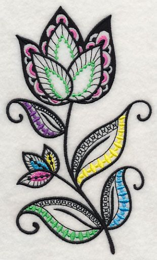 Flower fantasy blackwork j machine embroidery designs