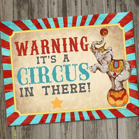 Vintage Circus Birthday PRINTABLE 14x11 Party Sign by partymonkey