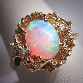 Antique Australian Opal Diamond Ring Vintage by AawsombleiJewelry