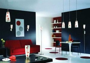Blue and Maroon Living Room