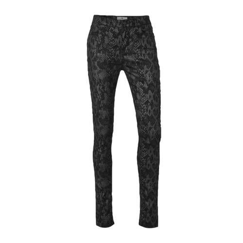 LTB Amy slim fit broek high waist met slangenprint zwart