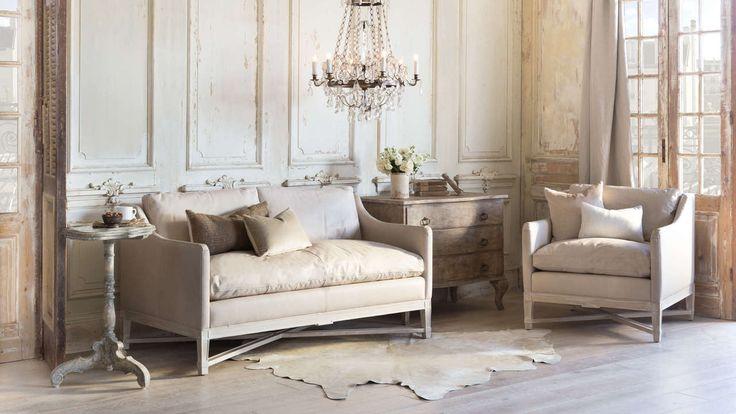 Scandinavian Loveseat in Aged Beige Leather and Worn Oak Finish   – Shopping center