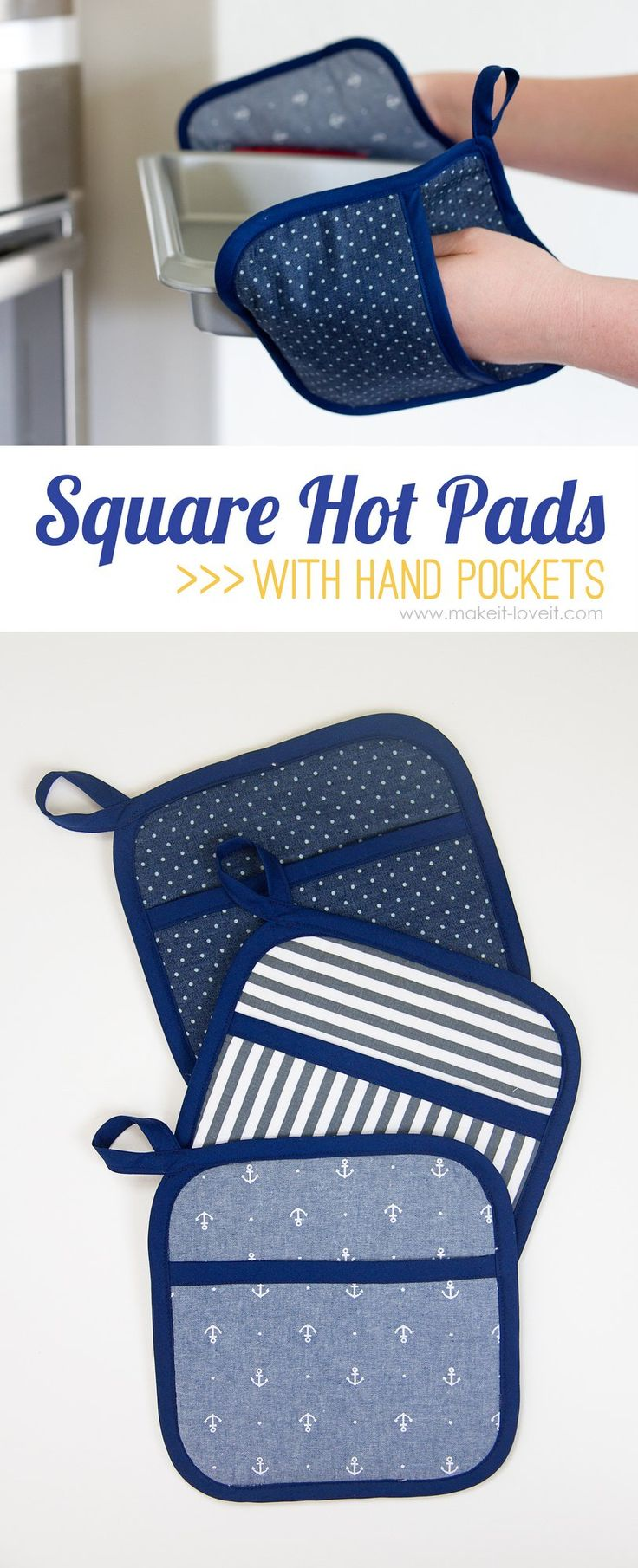 DIY Square Hot Pads...with Hand Pockets | via MichaelsMakers Make It and Love It