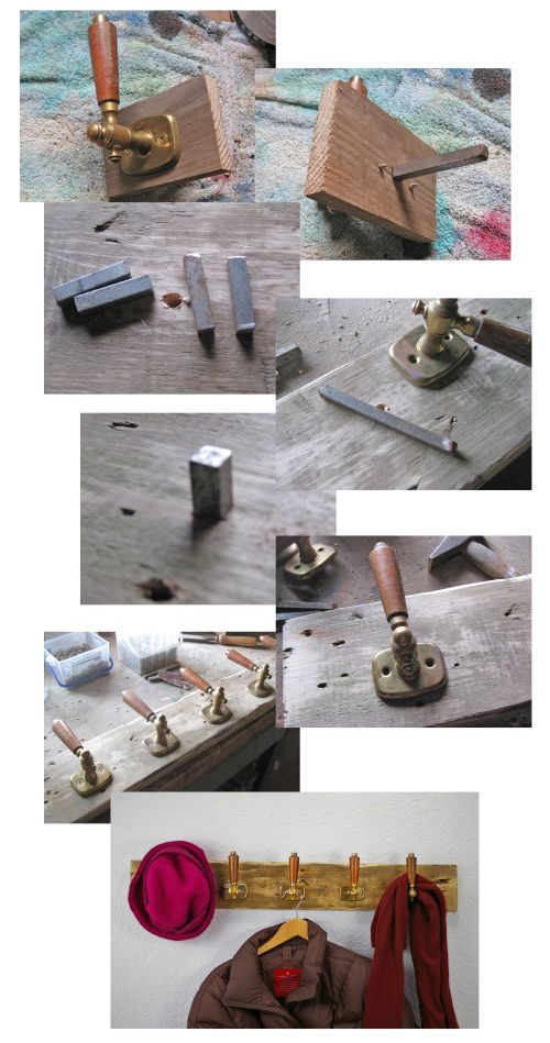 diy upcycling Garderobe, Upcycling alte Türgriffe, WAndgarderobe, Weiteres unter www.recyclingkunst.wordpress.com