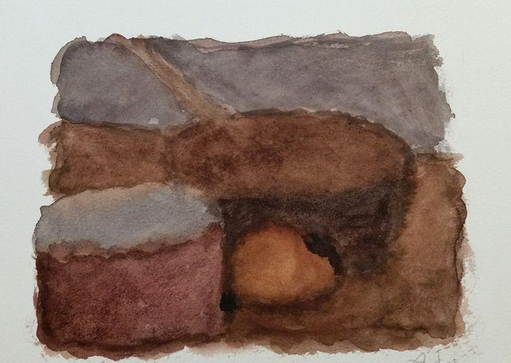 Alexandre Hollan - Vie silencieuse, aquarelle, 2005, 28 x38 cm