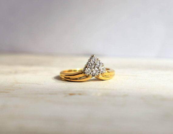 Grappe Vintage 0,5 ct diamant coeur bague de fiançailles diamant, bague de Cluster 7ème anniversaire diamant Vintage proposition 14k or bague
