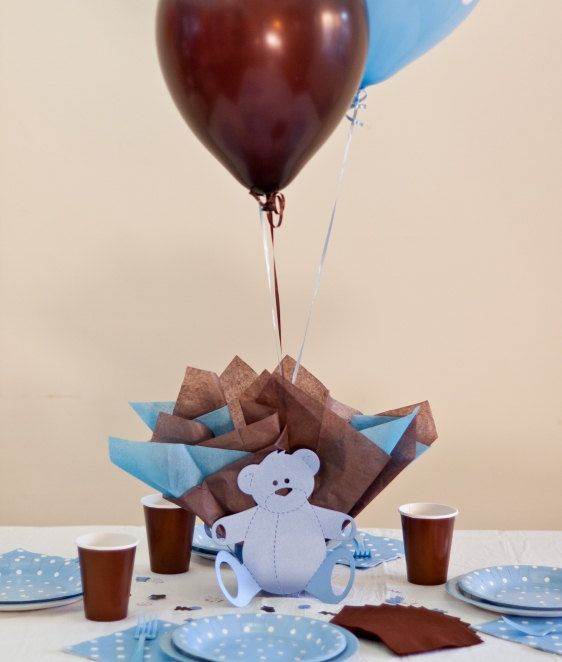 Blue Brown Baby Shower Tableware | Teddy Bear Baby Shower Balloon Centerpieces with Personalized Teddy ...