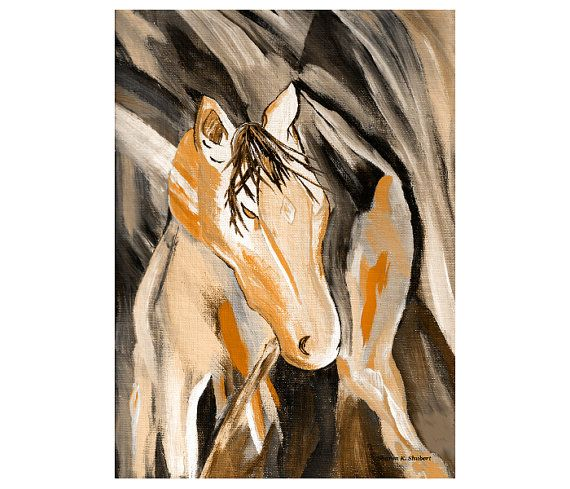 Southwestern Art Abstract Horse Mixed Media by GrayWolfGallery