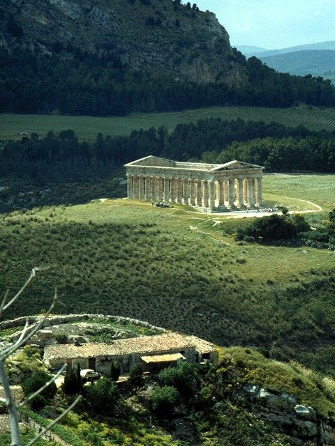 Segesta, one of the best preserved and most beautiful of all the Greek archaeological sites in the Mediterranean, Sicily, Italy More