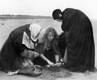 The three weird sisters in Polanski's Macbeth - the virgin, the mother and the old one (growth, fertility, decay)