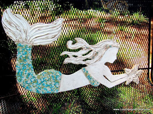Diy Mermaid Wall Decor : Large wooden mermaid wall art with stained glass mosaic