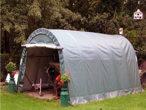 Rhinoshelter Instant Portable Garage Shelter - Quonset Gray by Rhino Parts and Performance. $799.00. High quality instant portable garage products including this one car, quonset shaped 12'wide x 20' long x 8' center height one car unit.  2 year manufacturer warranty Our portable instant portable garages provide quality instant protection for your valuable assets. Quality means; Heavy Gauge Galvanized Steel. Other fabricators try to sell you on powder coated tubular steel. Powde...