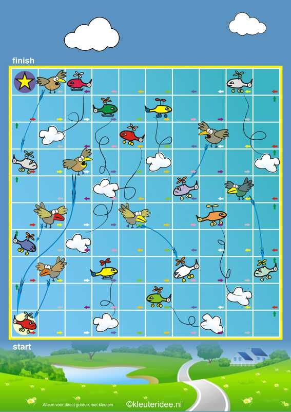 Het flitsende vliegspel voor kleuters, spelbord, kleuteridee.nl , The flashy flying game for preschool, free printable, with Dutch and Engli...