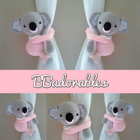 Amigurumi PDF PATTERN ONLY Nursery Decor Crochet Koala Curtain Tie Backs