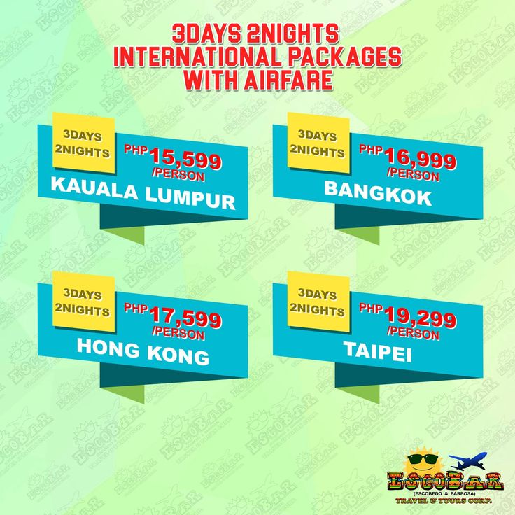 😱😱3D 2N INTERNATIONAL PACKAGES😱😱  👉👉3D 2N KUALA LUMPUR WITH AIRFARE👈👈  P15,599/PERSON  TRAVEL DATE: JUN 1-OCT 31, 2017 BOOKING DATE: UNTIL SLOTS ARE AVAILABLE +++++++++++++++++++++++++++++++++++  👉👉3D 2N BANGKOK WITH AIRFARE👈👈  P16,999/PERSON  TRAVEL DATE: JUL 1-OCT 31, 2017 TRAVEL DATE: UNTIL SLOTS ARE AVAILABLE +++++++++++++++++++++++++++++++++++  👉👉3D 2N HONG KONG WITH AIRFARE👈👈  P17,599/PERSON  TRAVEL DATE: MAY 15-JUN 30, 2017 TRAVEL DATE: UNTIL SLOTS ARE AVAILABLE…
