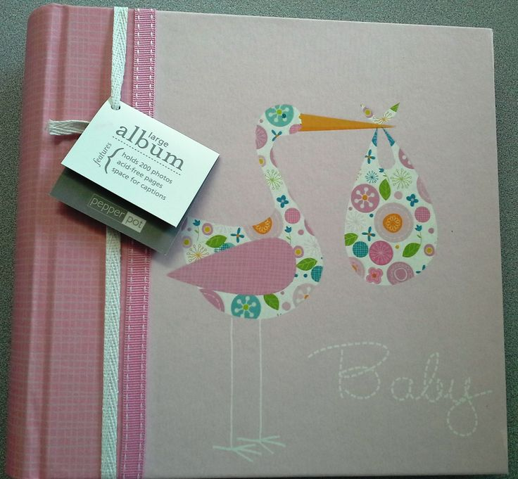 Baby Shower Pink Fabric Large Photo Album - Baby Girl - Stork by Pepperpot