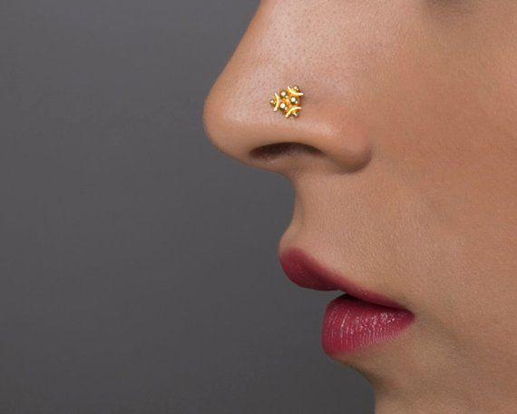 Indian Nose Ring Nose Piercing Brass Stone Crock Screw Nose Cartilage Nose Stud.