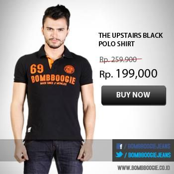 The Upstairs Black Polo Shirt from IDR 259,900 now only IDR199,000. Get it now: >>> www.bombboogie.co.id
