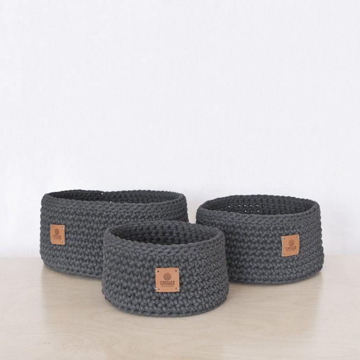 Hand-crocheted scuttle in dark grey  #crocheting #handmade #hnstly #grey #relaxing #livingroom #bathroom #textile