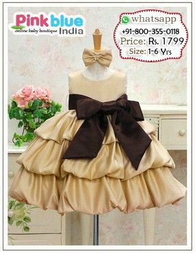 Baby Sleeveless Birthday Dress - Princess Party Wear Dress With Ribbon Bow, Designer Baby Clothes, Baby Outfits, Kids Wedding Outfits, Baby Casual Wear, Kids Clothing Collection 2016