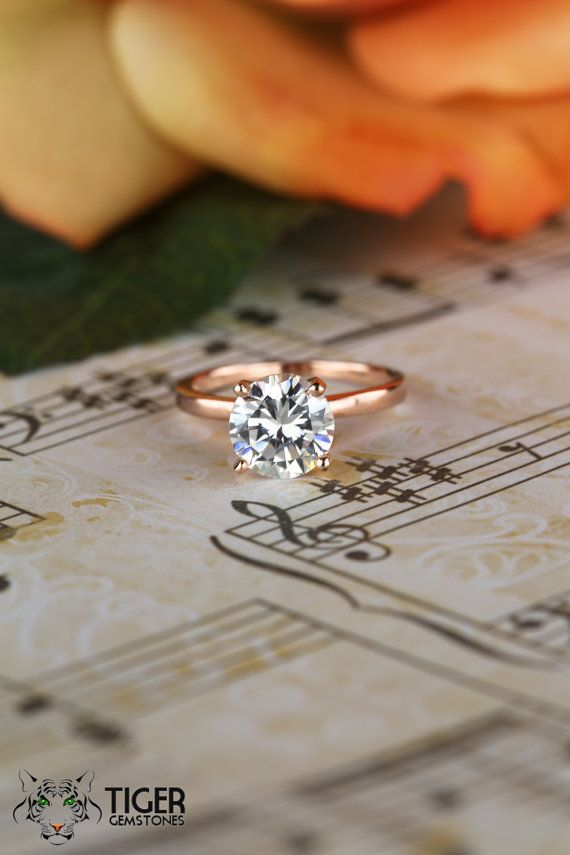 2 Ct Engagement Ring, Solitaire Ring, Man Made Diamond Simulant, Wedding Ring, Bridal Ring, Promise Ring, Sterling Silver, Rose Gold Plated