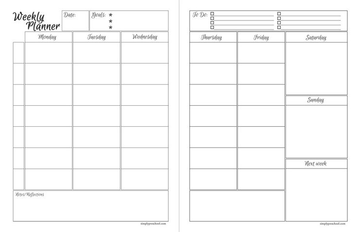 Free Printable Weekly Lesson Planner!  Includes goals, to do list, divided weekdays, notes/reflections, and a planning area for next week.  It's time to get organized!