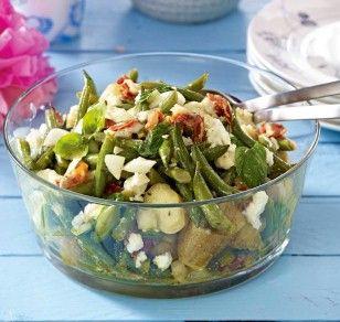 Bohnensalat mit Speck und Feta Rezept