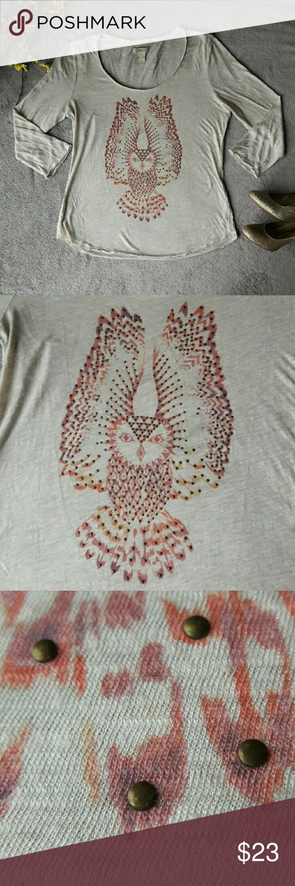 Lucky Brand Heathered Cream Owl Shirt Top A cute shirt from the Lucky Brand. An oatmeal cream color with a multicolored owl on the front. 3/4 length sleeves. No holes or stains.   38 inch bust, 26.5 length, 18.5 inch length. Lucky Brand Tops Tees - Short Sleeve
