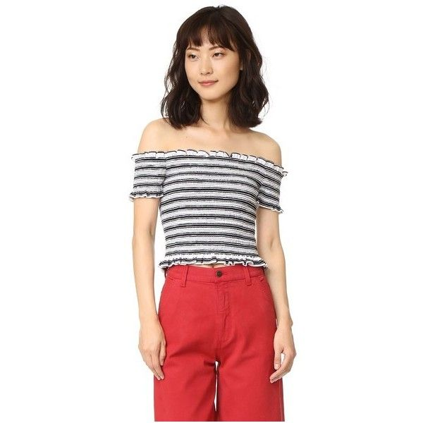 Shakuhachi Stripe Smocked Crop Top (6,850 PHP) ❤ liked on Polyvore featuring tops, stripe crop top, stripe top, striped top, off shoulder crop top and striped off-the-shoulder tops