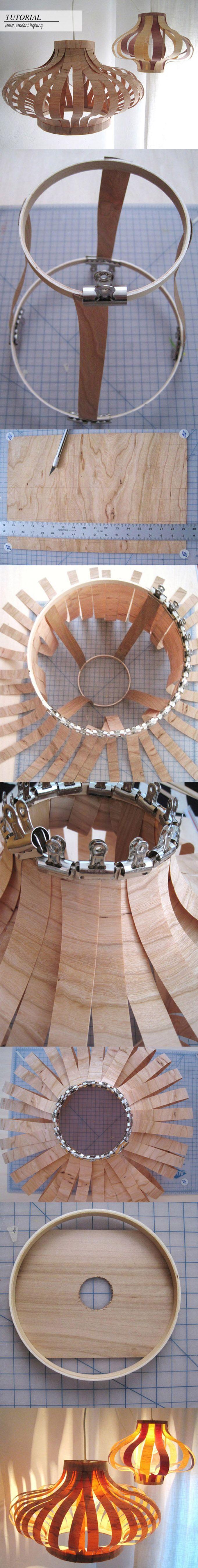 Lámpara DIY con chapa de madera