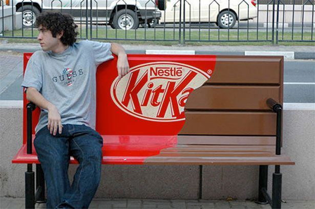 Kitkat — Environmental advertising. Fantastic ambient ad for Kit Kat!