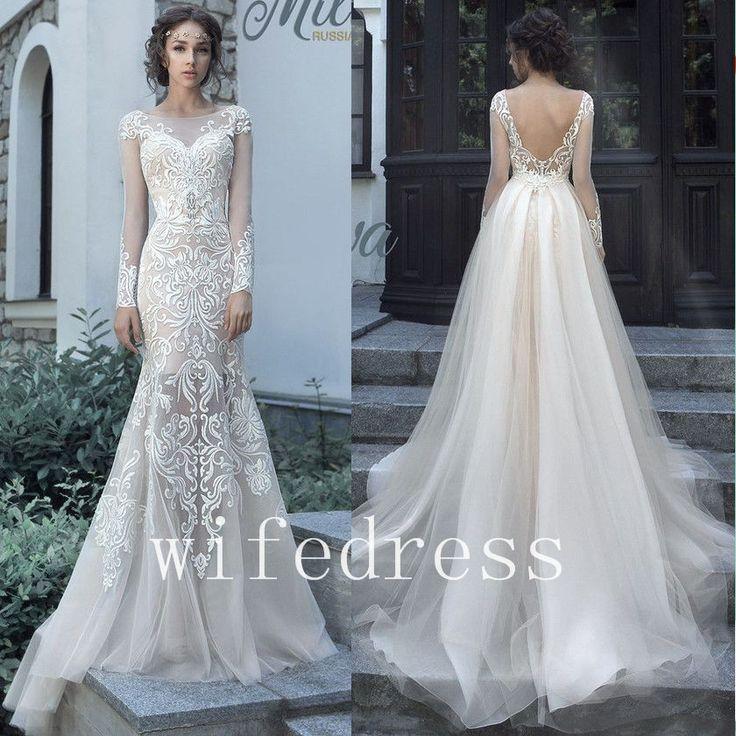 detachable train lace mermaid wedding dresses long sleeve open back bridal gowns
