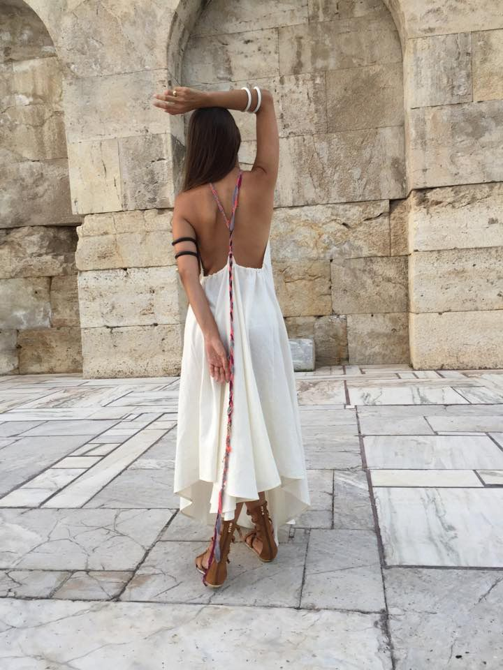 off-white linen dress by Kika Karabela for Agathi E.E.-KIKA (accessories Aelia by Fotini Kostouli -  - model : Lia Igam / Trends Control ) 49,Arachovis str./10681/Athens , GR contact : agathi.ee@gmail.com +302108223604