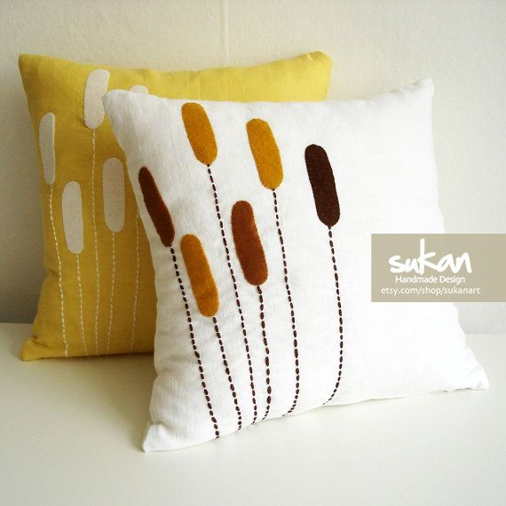 2 SET  Linen Pillow cover  16x16 by sukanart on Etsy, $65.95... Love this pillow design!