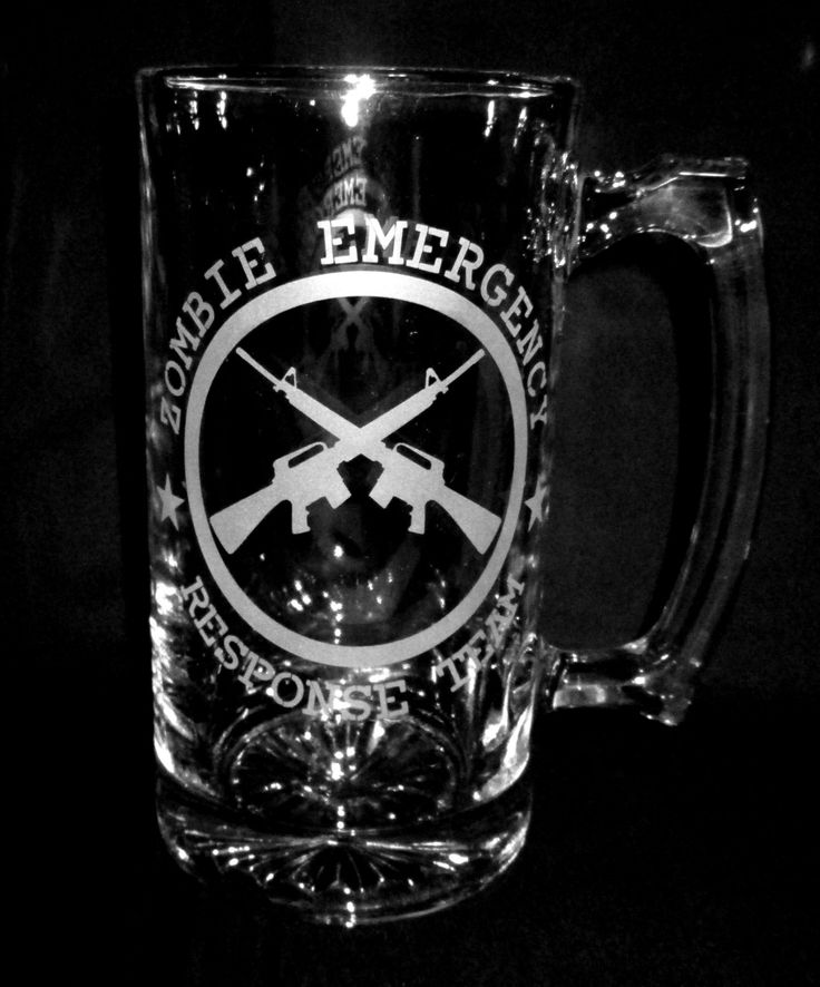 Zombie Etched Glass Beer Mug Bar Quality Emergency Response Team with Rifles AR15 M16 by CronusCustoms on Etsy