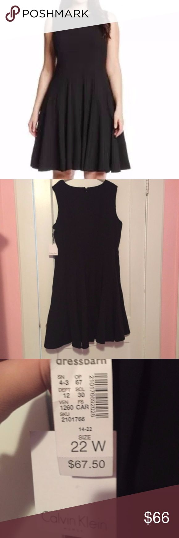 NWT Calvin Klein Black Pleated A Line Dress NWT Calvin Klein Black Sleeveless Pleated A-Line Dress. PLEASE BE AWARE: It has the sensor on the inside of the dress but it's not noticeable at all! Calvin Klein Dresses Asymmetrical