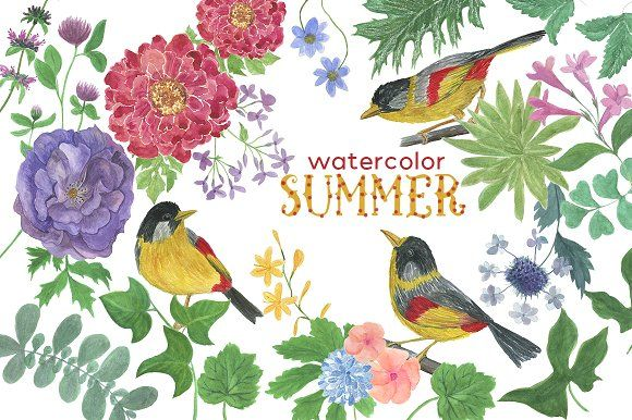 Watercolor SUMMER by ramika on @creativemarket