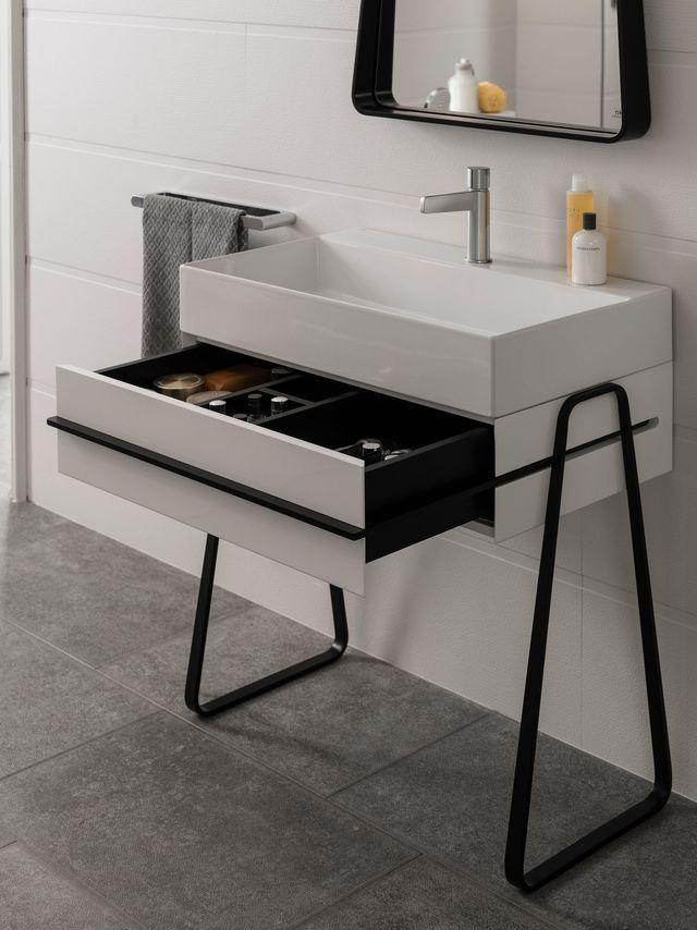 17 best images about bathroom on pinterest vanity units - Meuble salle de bain gain de place ...