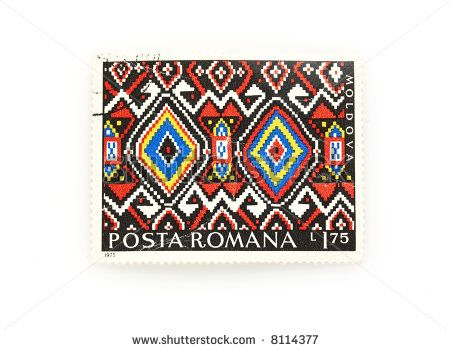 traditional romanian pattern stamp - stock photo
