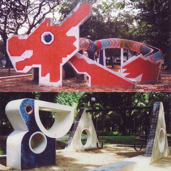 Vintage mosaic playground of Singapore