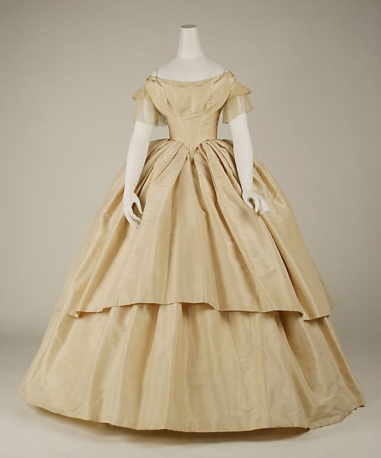 Wedding Dress  Date: 1858–59 Culture: American Medium: silk Dimensions: Length at CB: 13 7/8 in. (35.2 cm)
