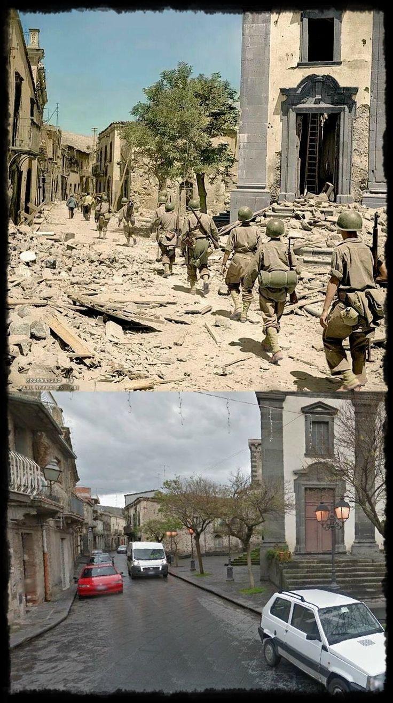 Truppe Americane transitano in Randazzo CT Piazza San Martino  #Luglio1943