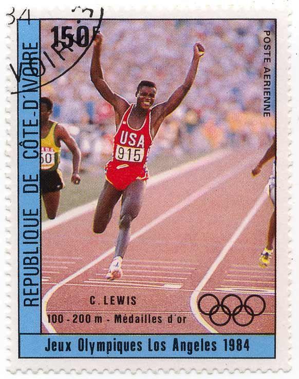 Vintage US Postage Stamps Values | Jeux Olympiques Los Angeles 1984 - C. Lewis 100 - 200 m - Médailles d ...