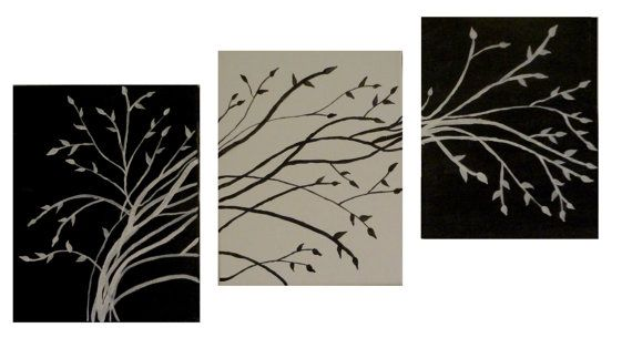 Contemporary tree art Black and white trees Tree of by PreethiArt, $55.00