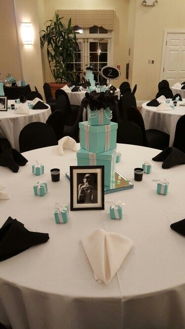 Breakfast at Tiffany  table set up. With box Center pieces for Quince, wedding, shower or birthday party