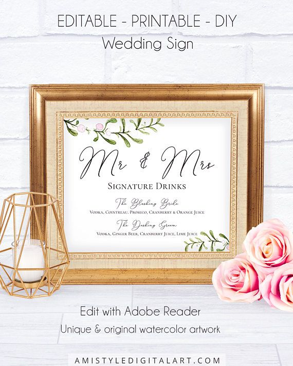 Rustic Mr and Mrs Wedding Sign, with stunning and modern watercolor winter graphics in rustic style.This pretty wedding sign is an instant download EDITABLE PDF so you can download it right away, DIY edit and print it at home or at your local copy shop by Amistyle Digital Art on Etsy