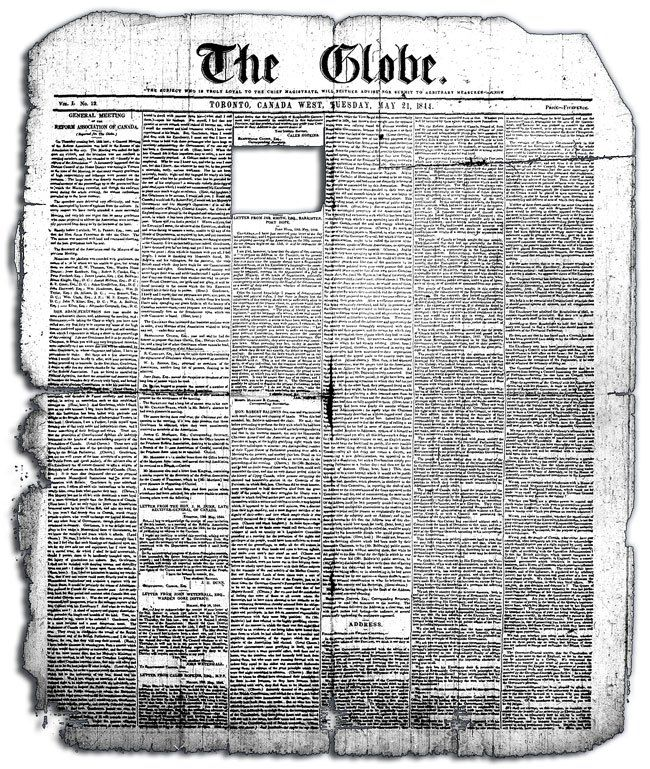 The oldest version (May 21, 1844) of The Globe available online. Source: Archives of Ontario. George Brown founded the Globe.