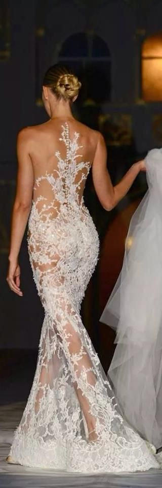 White Lace Evening Gown - Sexy back! Sexy lovely bare back of a dress details. Ladies fashion styles